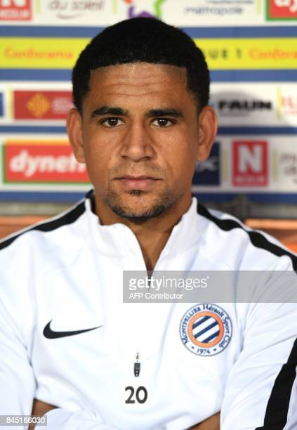 Montpellier's South African forward Keagan Dolly poses before the French L1 football match between MHSC Montpellier and Nantes on September 9 2017 at...