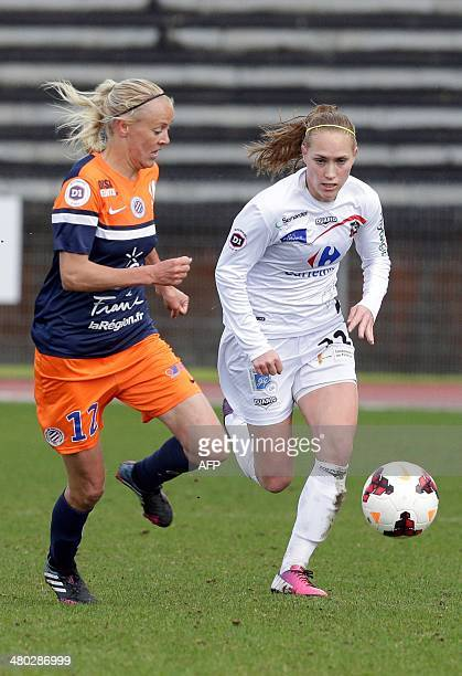 Montpellier's Swedish forward Josefine Oqvist fights for the ball with Juvisy's Belgian midfielder Janice Cayman during the French Women's Division 1...