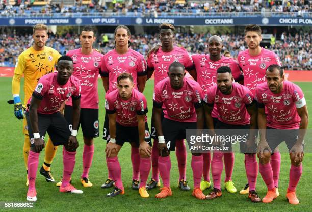 Montpellier's team players Chad forward Rodrigue Ninga French defender Ruben Aguilar French defender Jerome Rousillon Beninese' midfielder Stephane...