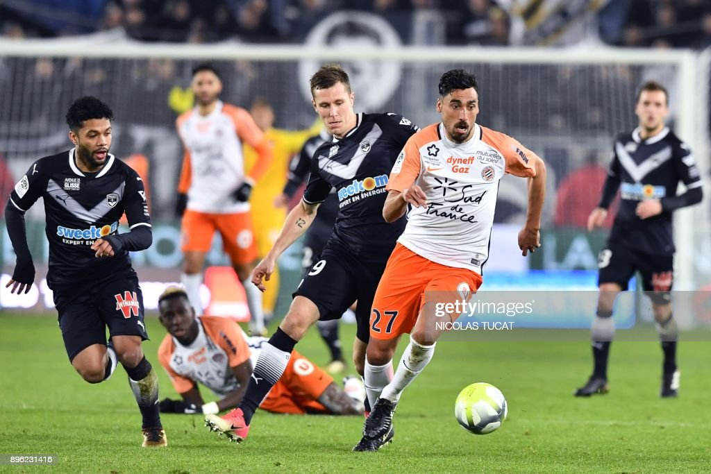 Montpellier's Uruguayan midfielder Facundo Piriz runs with the ball during the French L1 football match between Bordeaux (FCGB) and Montpellier (MHSC) on December 20, 2017, at the Matmut Atlantique stadium in Bordeaux, southwestern France. /