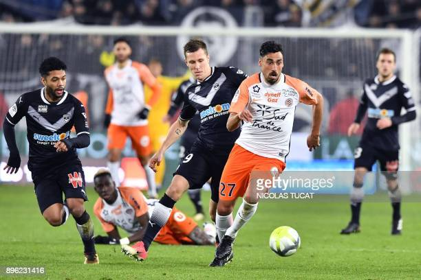 Montpellier's Uruguayan midfielder Facundo Piriz runs with the ball during the French L1 football match between Bordeaux and Montpellier on December...