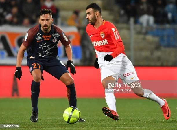 Montpellier's Uruguayan midfielder Facundo Piriz vies with Monaco's French midfielder Rachid Ghezzal during the French L1 football match between MHSC...