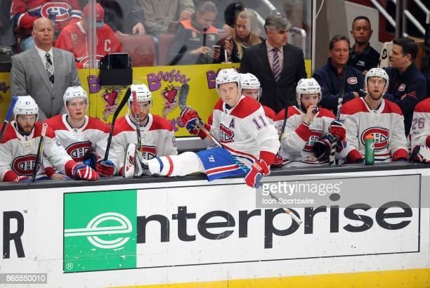 Montréal Canadiens rightwing Brendan Gallagher sits on the rail during a break in the action of the third period of a game against the Anaheim Ducks...