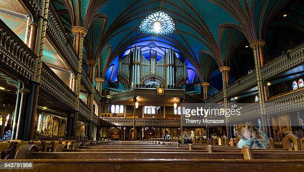 Montréal Québec Canada January 4 2016 NotreDame Basilica The Basilique NotreDame de Montréal is among the most dramatic in the world its interior is...