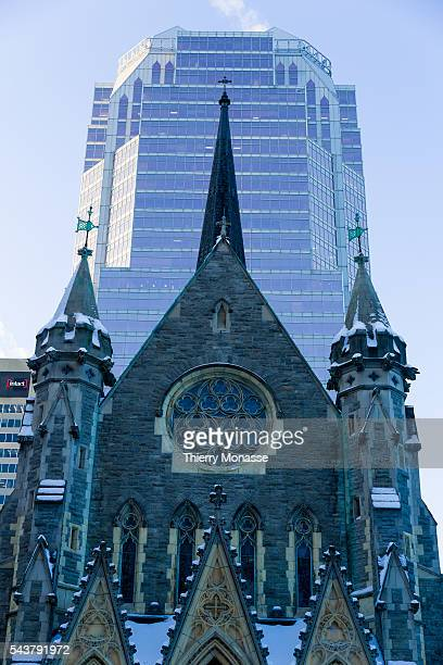Montréal Québec Canada January 4 2016 The Christ Church Cathedral is an Anglican Gothic Revival cathedral is the seat of the Anglican Diocese of...