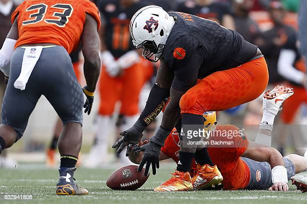 Montravius Adams of the South team recovers a fumble during the second half of the Reese's Senior Bowl at the LaddPeebles Stadium on January 28 2017...