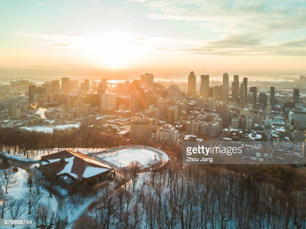 Montreal aerial view at dawn