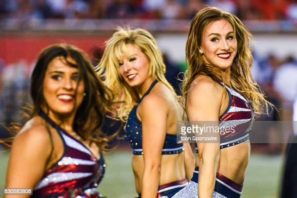 Montreal Alouettes cheerleader during the Toronto Argonauts versus the Montreal Alouettes game on August 11 at Percival Molson Memorial Stadium in...