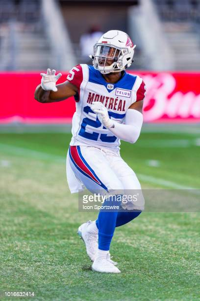 Montreal Alouettes defensive back Dondre Wright prepares to catch a pass during warmup before Canadian Football League action between the Montreal...