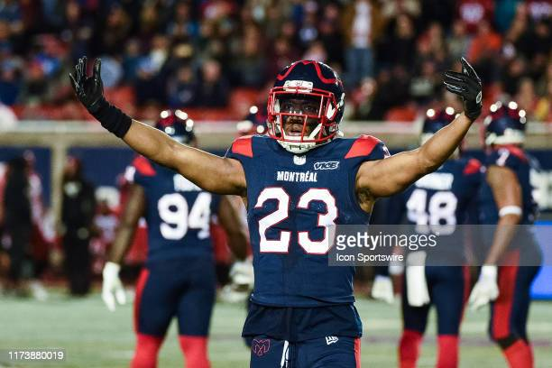 Montreal Alouettes defensive back Tommie Campbell asks the crowd to make some noise during the Calgary Stampeders versus the Montreal Canadiens game...