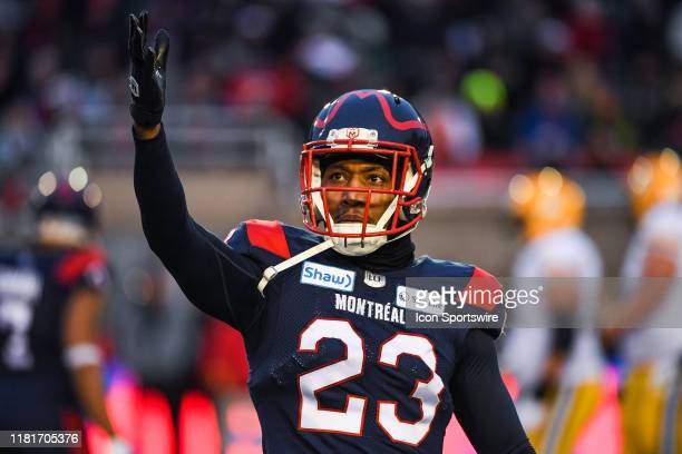 Montreal Alouettes defensive back Tommie Campbell tries to cheer up the crowd during the Edmonton Eskimos versus the Montreal Alouettes eastern...