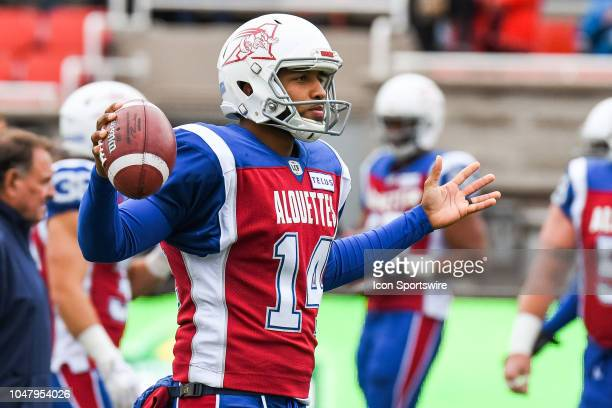 Montreal Alouettes Kicker Boris Bede holds the ball at warmup before the Calgary Stampeders versus the Montreal Alouettes game on October 8 at...