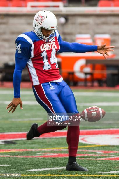 Montreal Alouettes Kicker Boris Bede kicks the ball at warmup before the Calgary Stampeders versus the Montreal Alouettes game on October 8 at...