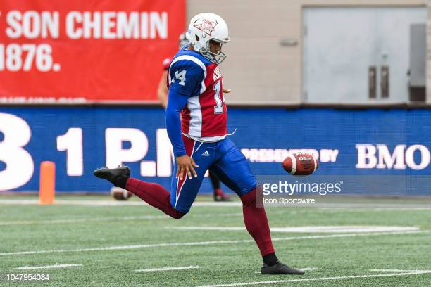 Montreal Alouettes Kicker Boris Bede kicks the ball during the Calgary Stampeders versus the Montreal Alouettes game on October 8 at Percival Molson...
