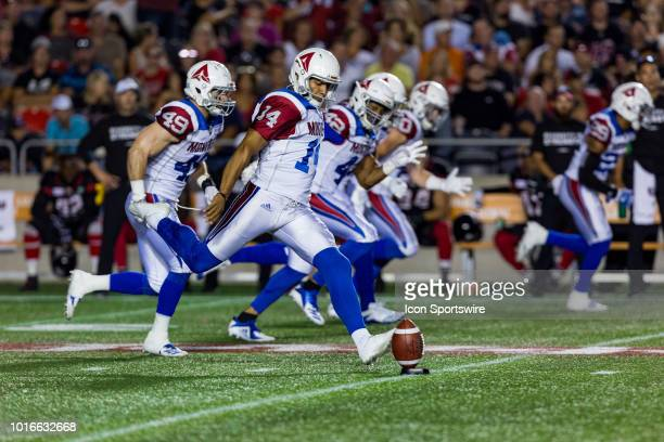 Montreal Alouettes kicker Boris Bede prepares to kickoff during Canadian Football League action between the Montreal Alouettes and Ottawa Redblacks...