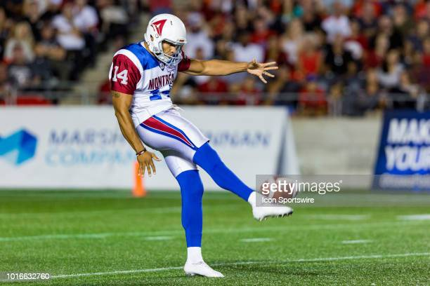 Montreal Alouettes kicker Boris Bede punts the ball away during Canadian Football League action between the Montreal Alouettes and Ottawa Redblacks...