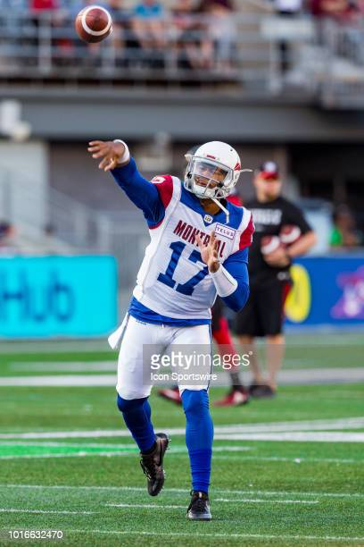 Montreal Alouettes quarterback Antonio Pipkin throws a pass during warmup before Canadian Football League action between the Montreal Alouettes and...