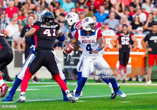 Montreal Alouettes quarterback Darian Durant prepares to launch a pass during Canadian Football League action between Montreal Alouettes and Ottawa...