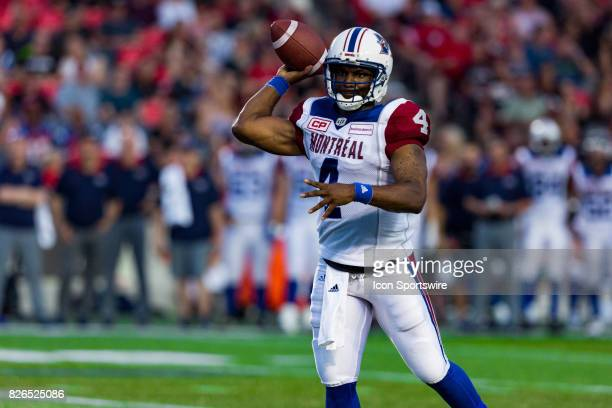Montreal Alouettes quarterback Darian Durant prepares to pass the ball during Canadian Football League action between Montreal Alouettes and Ottawa...