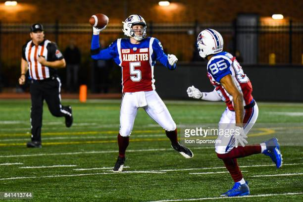 Montreal Alouettes quarterback Drew Willy passing the ball during the Ottawa Redblacks versus the Montreal Alouettes game on August 31 at Percival...