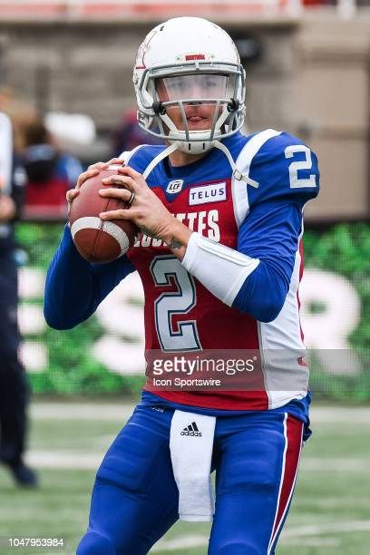 Montreal Alouettes Quarterback Johnny Manziel holds the ball at warmup before the Calgary Stampeders versus the Montreal Alouettes game on October 8...