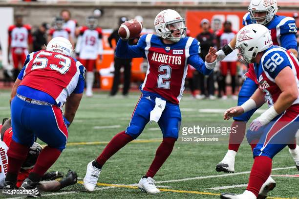 Montreal Alouettes Quarterback Johnny Manziel looks for a pass target while under pressure during the Calgary Stampeders versus the Montreal...
