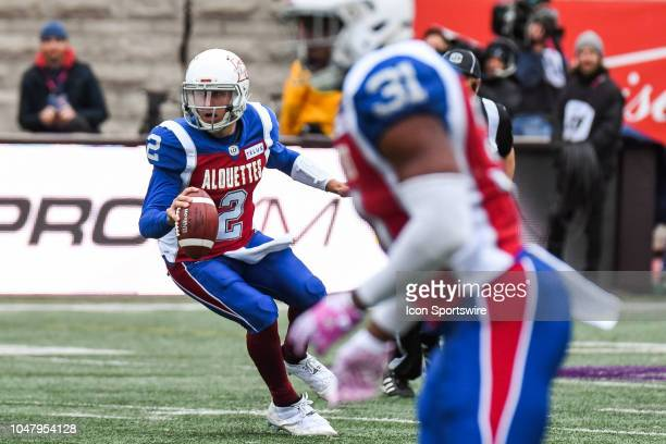 Montreal Alouettes Quarterback Johnny Manziel looks for a pass target during the Calgary Stampeders versus the Montreal Alouettes game on October 8...