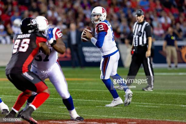 Montreal Alouettes quarterback Johnny Manziel looks to make a pass during Canadian Football League action between the Montreal Alouettes and Ottawa...
