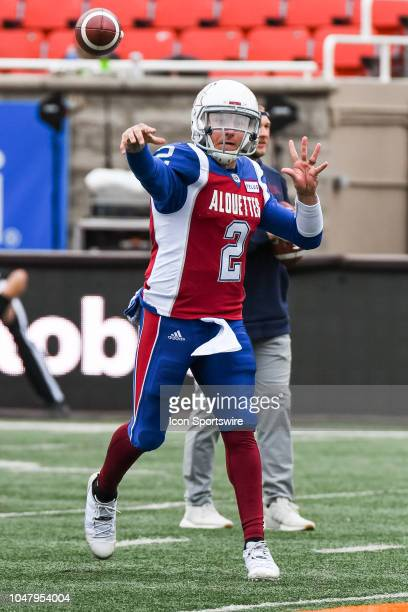 Montreal Alouettes Quarterback Johnny Manziel passes the ball at warmup before the Calgary Stampeders versus the Montreal Alouettes game on October 8...