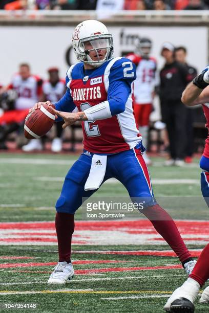 Montreal Alouettes Quarterback Johnny Manziel passes the ball during the Calgary Stampeders versus the Montreal Alouettes game on October 8 at...