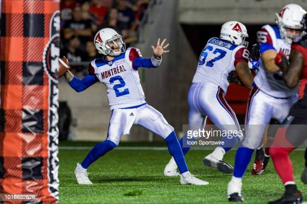 Montreal Alouettes quarterback Johnny Manziel prepares to throw a pass during Canadian Football League action between the Montreal Alouettes and...