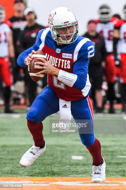 Montreal Alouettes Quarterback Johnny Manziel runs with the ball during the Calgary Stampeders versus the Montreal Alouettes game on October 8 at...