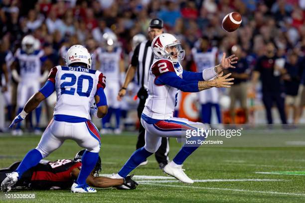 Montreal Alouettes quarterback Johnny Manziel scrambles to recover a botched snap during Canadian Football League action between the Montreal...