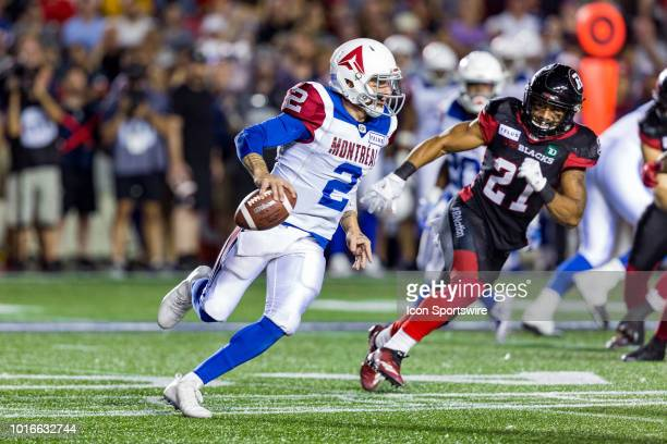 Montreal Alouettes quarterback Johnny Manziel scrambles with the football during Canadian Football League action between the Montreal Alouettes and...
