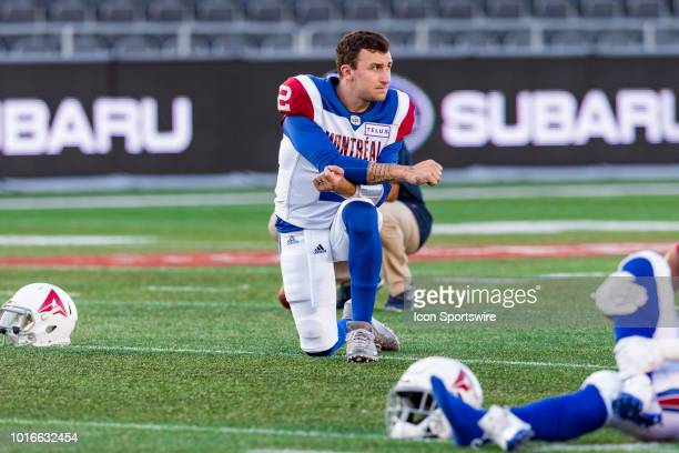 Montreal Alouettes quarterback Johnny Manziel takes a break during warmup before Canadian Football League action between the Montreal Alouettes and...