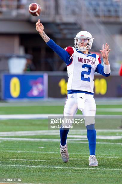 Montreal Alouettes quarterback Johnny Manziel throws a pass during warmup before Canadian Football League action between the Montreal Alouettes and...