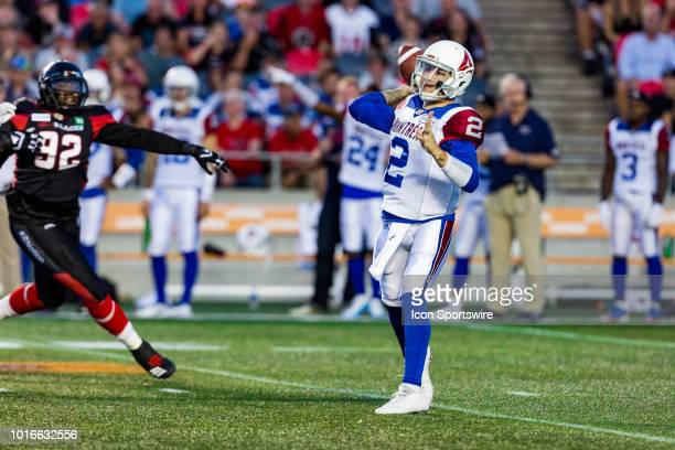 Montreal Alouettes quarterback Johnny Manziel throws the football during Canadian Football League action between the Montreal Alouettes and Ottawa...