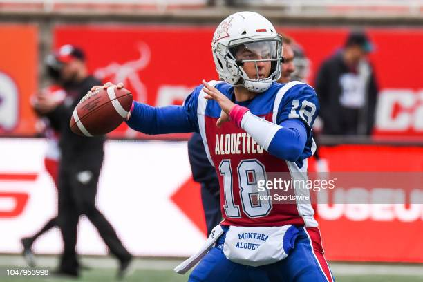 Montreal Alouettes Quarterback Matthew Shiltz passes the ball at warmup before the Calgary Stampeders versus the Montreal Alouettes game on October 8...