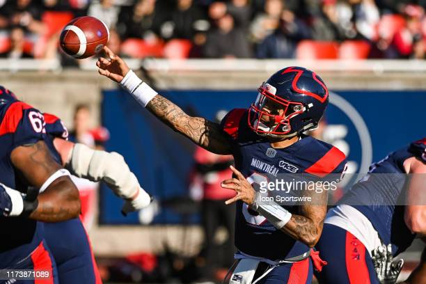 Montreal Alouettes quarterback Vernon Adams Jr passes the ball during the Calgary Stampeders versus the Montreal Canadiens game on October 05 at...