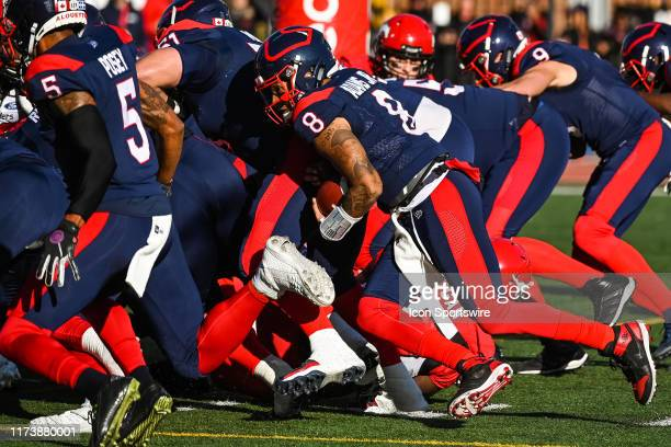 Montreal Alouettes quarterback Vernon Adams Jr runs for a one yard gain during the Calgary Stampeders versus the Montreal Canadiens game on October...