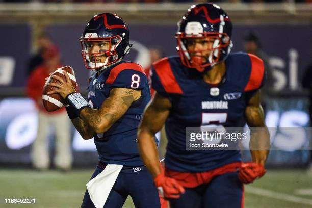 Montreal Alouettes Quarterback Vernon Adams Jr. Tracks a pass target during the BC Lions versus the Montreal Alouettes game on September 6 at...
