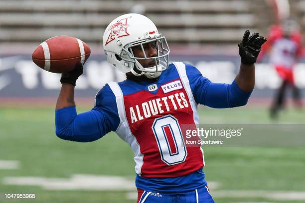 Montreal Alouettes Running back Stefan Logan throws the ball at warmup before the Calgary Stampeders versus the Montreal Alouettes game on October 8...
