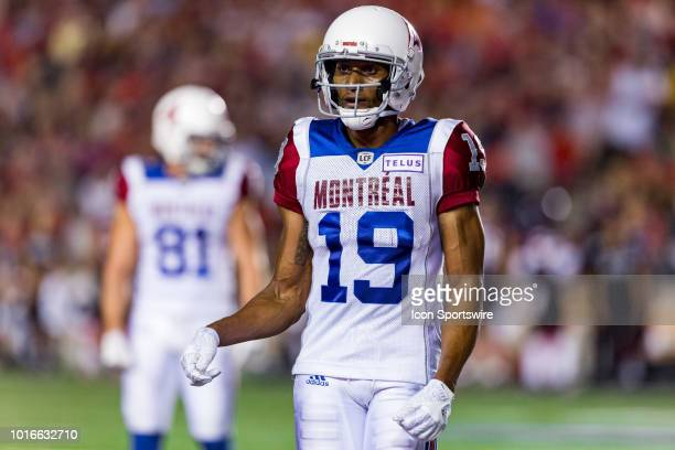 Montreal Alouettes slotback Adarius Bowman gets into position prior to a snap during Canadian Football League action between the Montreal Alouettes...