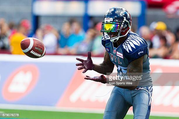Montreal Alouettes wide receiver Chad Johnson catches the ball prior to the game between the Montreal Alouettes and the Hamilton TigerCats at the...