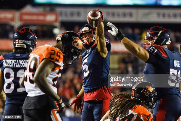 Montreal Alouettes Wide Receiver DeVier Posey drops the ball close to the endzone after returning a pass during the BC Lions versus the Montreal...
