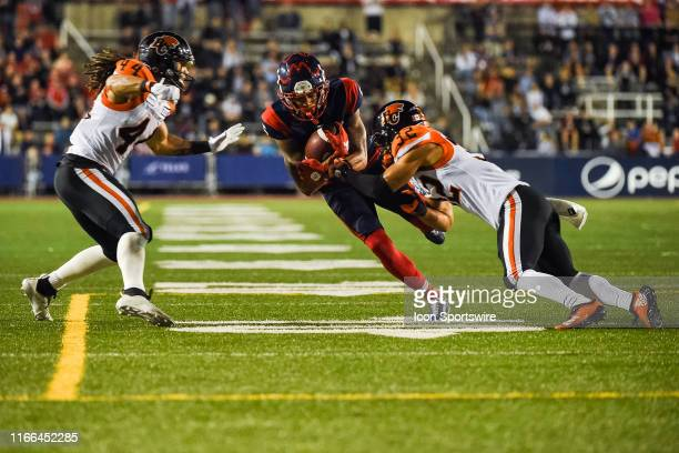 Montreal Alouettes Wide Receiver DeVier Posey jumps trying to avoid a tackle during the BC Lions versus the Montreal Alouettes game on September 6 at...