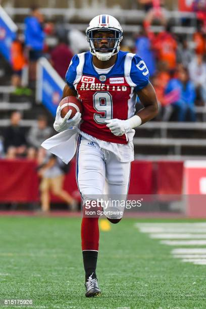 Montreal Alouettes wide receiver Ernest Jackson running on the field at warm up before the Calgary Stampeders versus the Montreal Alouettes game on...