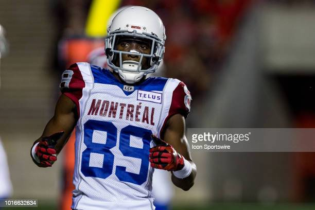 Montreal Alouettes wide receiver TJ Graham get himself into position before the snap during Canadian Football League action between the Montreal...