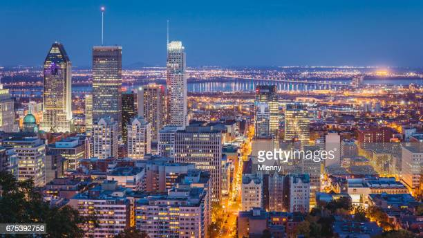 montreal at night cityscape panorama quebec canada - montreal stock pictures, royalty-free photos & images
