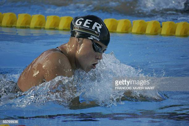 Anne Poleska of Germany swims in the Women's 200M Breaststroke semifinal 28 July 2005 at the XI FINA Swimming World Championships at Parc JeanDrapeau...